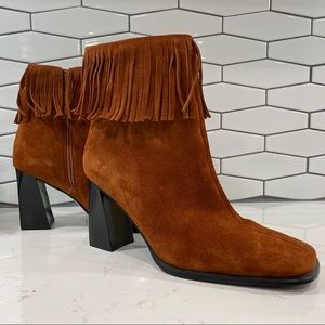 PAZZO Shoes - Pazzo Fringe Suede High Heel Mid-Calf Boots